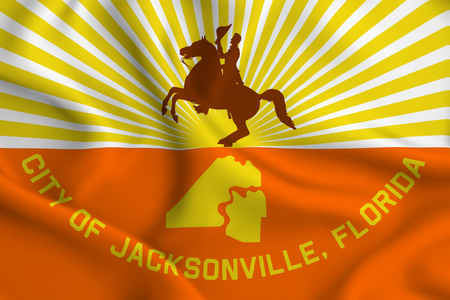 Jacksonville Florida 3D waving flag illustration. Texture can be used as background.