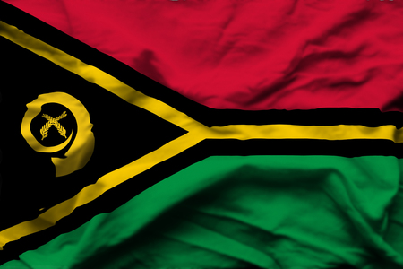 Vanuatu 3D wrinkled flag illustration. Usable for background and texture.