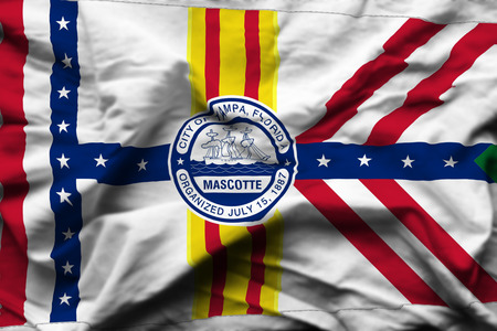 Tampa Florida 3D wrinkled flag illustration. Usable for background and texture.