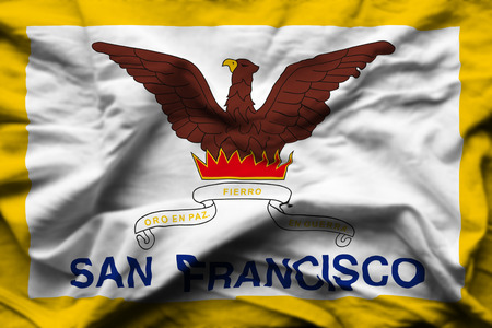San Francisco 3D wrinkled flag illustration. Usable for background and texture. 写真素材