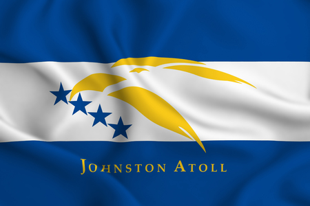 Johnston Atoll 3D waving flag illustration. Texture can be used as background.