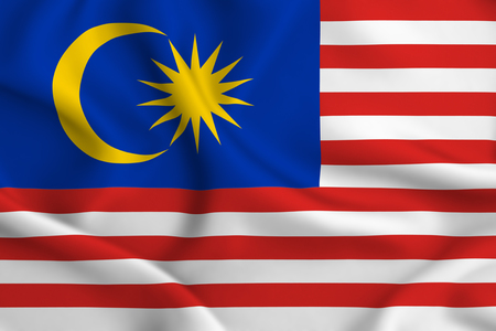 Malaysia 3D waving flag illustration. Texture can be used as background. Stock Photo