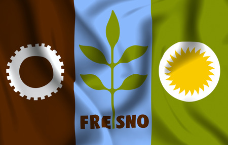 Fresno California 3D waving flag illustration. Texture can be used as background.