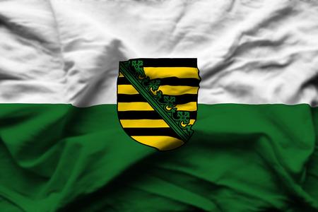 Saxony  3D wrinkled flag illustration. Usable for background and texture. Standard-Bild - 109910879