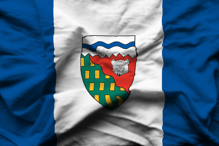 Northwest Territories 3D wrinkled flag illustration. Usable for background and texture. Stock Photo