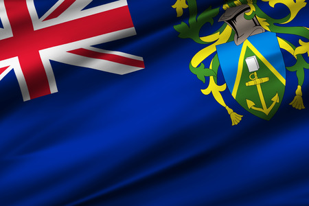 Pitcairn Islands 3D waving flag illustration. Texture can be used as background.