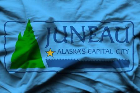 Juneau Alaska 3D wrinkled flag illustration. Usable for background and texture. 写真素材