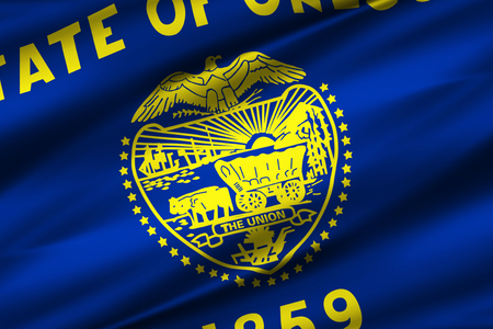 Oregon 3D waving flag illustration. Texture can be used as background.
