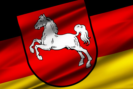 Lower Saxony  3D waving flag illustration. Texture can be used as background. Standard-Bild - 109912636