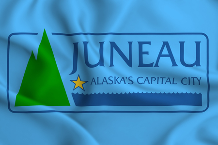 Juneau Alaska 3D waving flag illustration. Texture can be used as background.