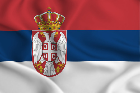 Serbia 3D waving flag illustration. Texture can be used as background.