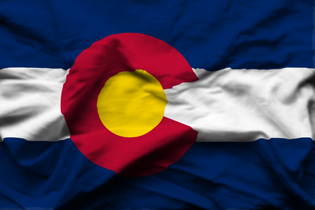 Colorado 3D wrinkled flag illustration. Usable for background and texture. Stock Photo