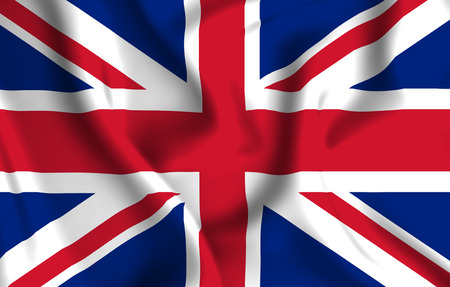 United Kingdom 3D waving flag illustration. Texture can be used as background.