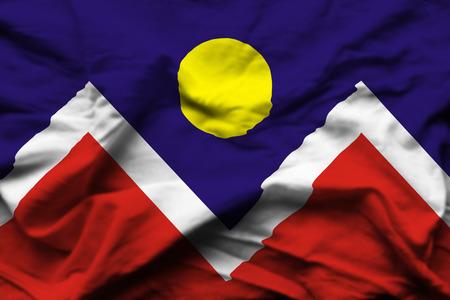 Denver Colorado 3D wrinkled flag illustration. Usable for background and texture.