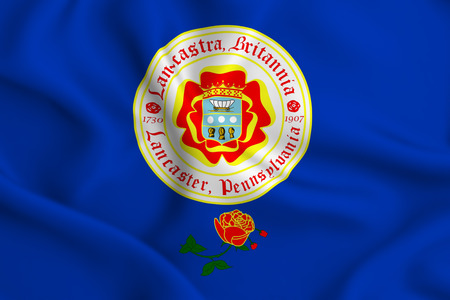 Lancaster Pennsylvania 3D waving flag illustration. Texture can be used as background.