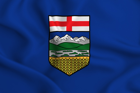 Alberta 3D waving flag illustration. Texture can be used as background. Stock Photo