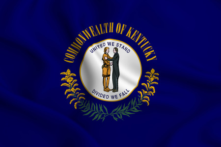 Kentucky 3D waving flag illustration. Texture can be used as background. Stock Photo