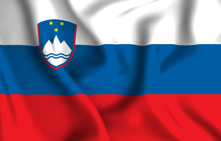 Slovenia 3D waving flag illustration. Texture can be used as background. Stock Photo