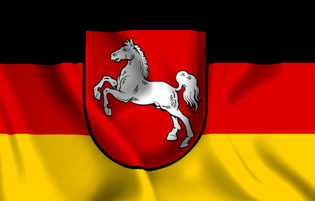 Lower Saxony  3D waving flag illustration. Texture can be used as background. Standard-Bild - 109900909