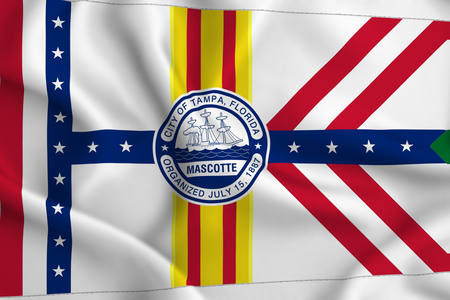 Tampa Florida 3D waving flag illustration. Texture can be used as background.