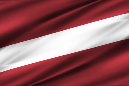Latvia 3D waving flag illustration. Texture can be used as background.