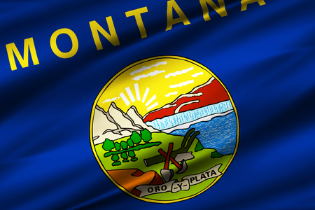 Montana 3D waving flag illustration. Texture can be used as background. 스톡 콘텐츠