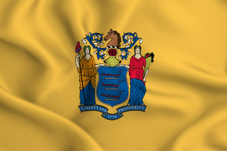 New Jersey 3D waving flag illustration. Texture can be used as background.