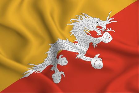 Bhutan 3D waving flag illustration. Texture can be used as background. Reklamní fotografie