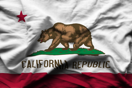 California 3D wrinkled flag illustration. Usable for background and texture. Stock Photo