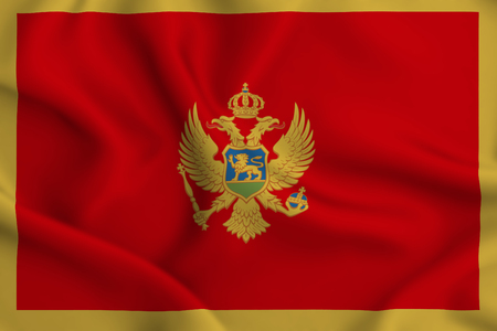 Montenegro 3D waving flag illustration. Texture can be used as background. Stock Photo