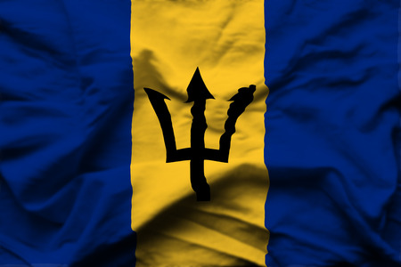 Barbados 3D wrinkled flag illustration. Usable for background and texture. Stock Photo