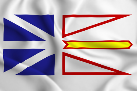 Newfoundland And Labrador 3D waving flag illustration. Texture can be used as background. Banque d'images - 109899348
