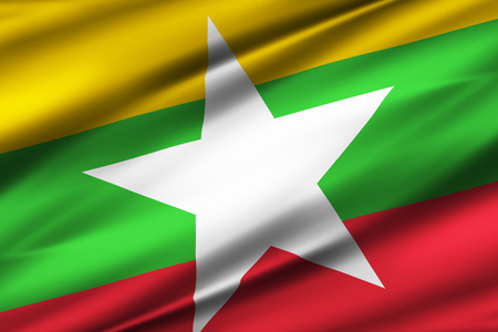 Myanmar 3D waving flag illustration. Texture can be used as background.