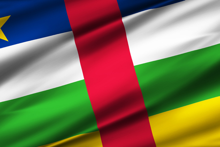 Central African Republic 3D waving flag illustration. Texture can be used as background.