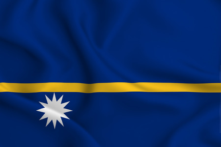 Nauru 3D waving flag illustration. Texture can be used as background. Stock Photo
