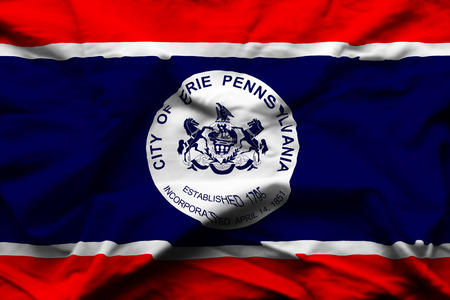 Erie Pennsylvania 3D wrinkled flag illustration. Usable for background and texture. 版權商用圖片