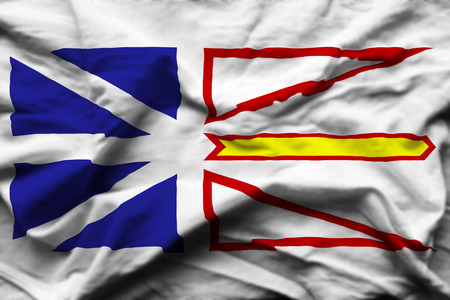 Newfoundland And Labrador 3D wrinkled flag illustration. Usable for background and texture. Stock Photo