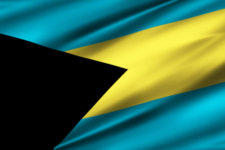 Bahamas 3D waving flag illustration. Texture can be used as background.