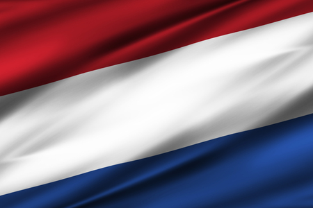 The Netherlands 3D waving flag illustration. Texture can be used as background.