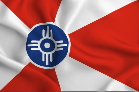 Wichita Kansas 3D waving flag illustration. Texture can be used as background.