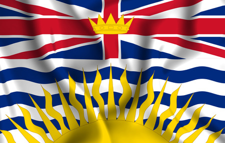 British Columbia 3D waving flag illustration. Texture can be used as background. Фото со стока