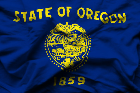 Oregon 3D wrinkled flag illustration. Usable for background and texture. 写真素材