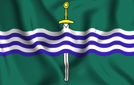 Peterborough Ontario 3D waving flag illustration. Texture can be used as background. Фото со стока