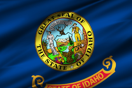 Idaho 3D waving flag illustration. Texture can be used as background.