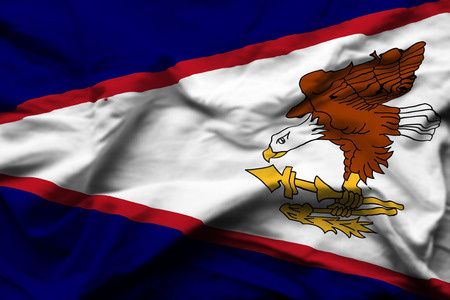 American Samoa 3D wrinkled flag illustration. Usable for background and texture. Stock Photo