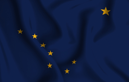 Alaska 3D waving flag illustration. Texture can be used as background.