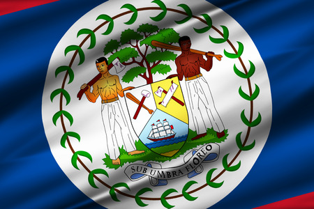 Belize 3D waving flag illustration. Texture can be used as background. Stock Photo