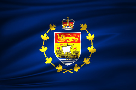 Lieutenant-Governor Of New Brunswick 3D waving flag illustration. Texture can be used as background.