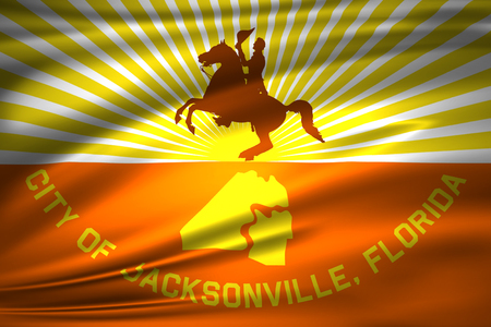 Jacksonville Florida 3D waving flag illustration. Texture can be used as background. Stock Illustration - 110618082