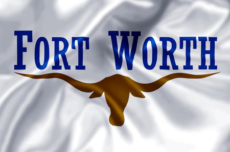 Fort Worth Texas waving and closeup flag illustration. Perfect for background or texture purposes. Stock Photo